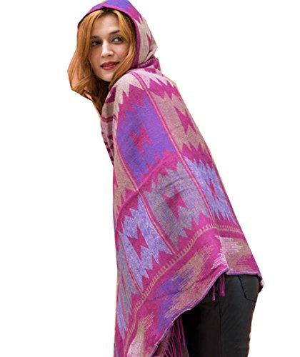 Km Women Bohemian Cloak Thicken Hooded Cape/shawl (Purple)