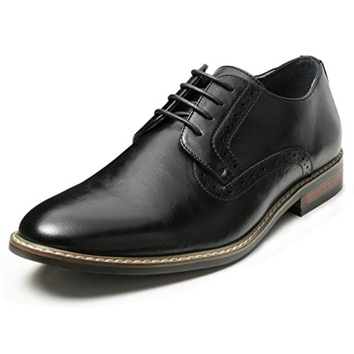 Men's Classic Dress Shoes Leather Lined Formal Brogue Oxfords (12 M US, Black9) (Real Leather Dress Shoes Men)