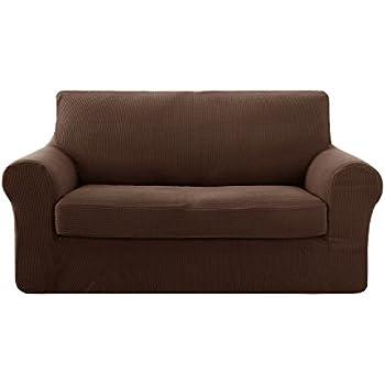 Amazon Com Deconovo 2 Piece Jacquard Spandex Couch Covers