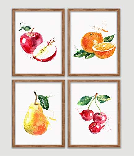 - Watercolor Fruits Poster Set of 4 Botanical Art Prints Apple Orange Avacado Mango Watermelon Kiwi Strawberry Peach Cherry Apricot Coconut Pineapple Pear Wall Decor Tropical Fruits Wall Art