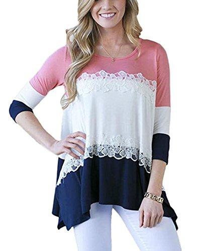 LXS STORE Women Color Block Lace Patchwork Irregular Hem 3/4 Sleeve Blouse Tee T-shirt Tops (XL, (Plus Size Stores)
