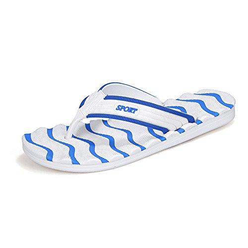 Sommer Neues Muster Art und Weise Großes Tendenz Freizeit Strand Flip Flops Männer Explosion, Weiß und Blau, UK = 9, EU = 43 1/3