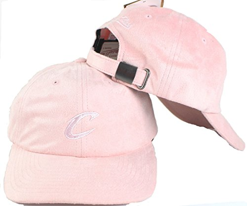 Mitchell & Ness NBA Micro Suede Slouch Strapback Dad Hat (Adjustable, Cleveland Cavaliers, Pink) ()