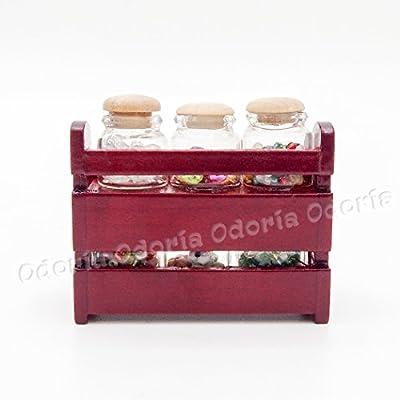 Odoria 1:12 Miniature Wooden Spice Rack Shelf Dollhouse Kitchen Accessories: Toys & Games