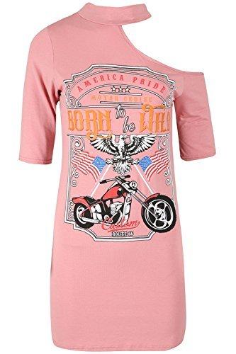Oops Outlet Damen Halsreifen Hals Rock Born to be wild Einschultrig überdimensional Langleine Tunika T-Shirt Kleid - rosa, S/M (UK 8/10)