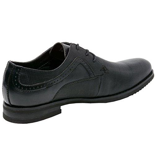 Suizo Alpino Con Doble Diamante De Saffiano Con Cordones De Cuero Zapatos De Vestir Oxford Negro