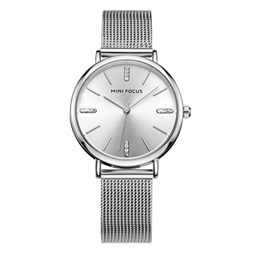 Ladies Stainless Steel Mesh - Womens Watches, Stainless Steel Quartz Womens Mesh Ladies Wrist Watch, Round Case Fashion Classic Business Casual Watches for Girl's 30M Waterproof