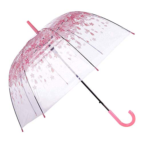 [Pink Cherry]Moonse Romantic Pink Cherry Clear Rain Wind Umbrella,Half-Automatic ()
