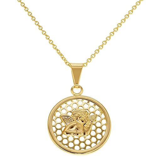 """Price comparison product image In Season Jewelry 18k Gold Plated Guardian Angel Baby Protection Pendant Necklace for Kids 16"""""""