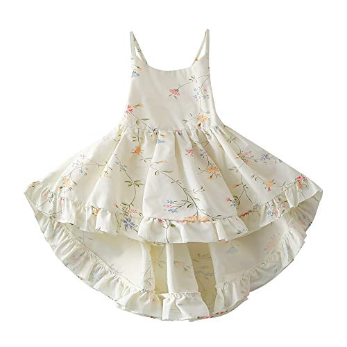 Toddler Vintage Floral Girls Dress Twirly Dresses Swallowtail Dress,White 18-24M