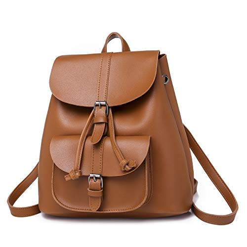 Tote Drawstring Bag Backpack PU Woman Retro Shoulder Leather Lightweight Brown School Ybriefbag Rucksack qHvwxxp