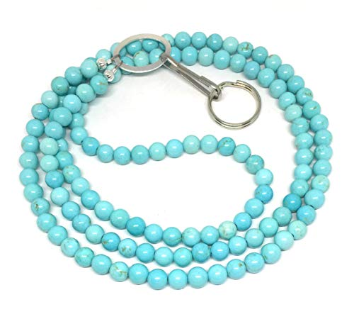 Turquoise Magnesite id Badge Lanyard with Silver Tone Hardware