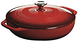 Lodge EC3CC43 Enameled Cast Iron Covered Casserole, 3-Quart, Island Spice Red