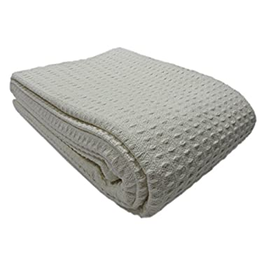 Cozy Bed - Santa Barbara Waffle Weave Cotton Blanket, King, Gray