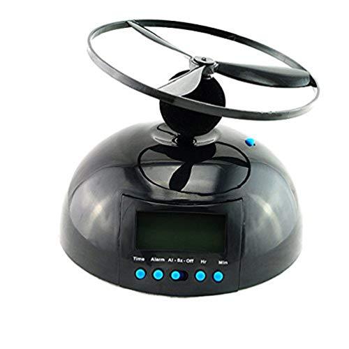 Enshey Flying Alarm Clock Crazy Helicopter Novelty Alarm Clock UFO Propeller Fly LCD Digital Alarm Clock Gadget Run Away Flying Helicopter Chopper Propeller Clock Wake Up Heavy Sleepers, -