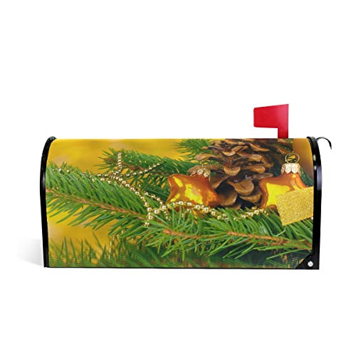 Friendly PVC Magnetic Mailbox Cover,Ball Pine Cone Ornaments Mail Box Makeover Waterproof Anti Sunburn Decor Standard Size