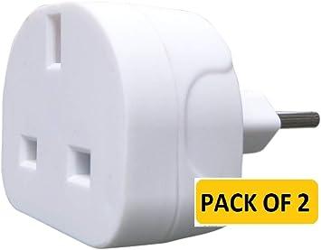 ShaniTech - Pack de 2 adaptadores de viaje europeos de Reino Unido ...