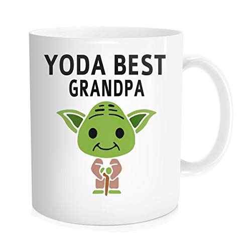 (Chilltreads Yo-da Best Grandpa Coffee Mug, Cute Star Fans Cup, Funny Grandpa Birthday Gift, Yo-da Grandpa, 11oz White)