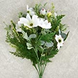 Artificial Floral Bush with White Dogwood Blooms, Fern Fronds, Greenery and Creamy Faux Berries