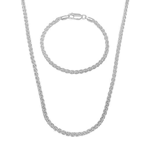 925 Silver Flat Snake Necklace Flat Snake Bracelet Set - 9