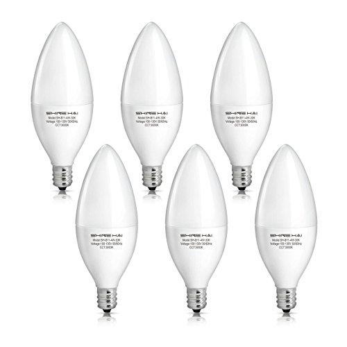 shine hai candelabra led bulbs 40w equivalent 3000k warm white decorative candle light bulb e12 base b11 led light bulbs 120v 3 years warranty