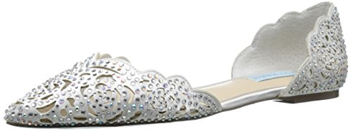 Blue by Betsey Johnson Women's SB-Lucy Dress Sandal, Ivory Satin, 6.5 M (Satin Womens Flat)