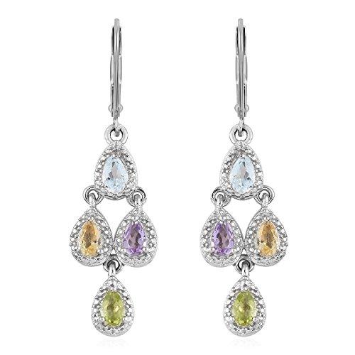 Pear Pink Amethyst Peridot Sky Blue Chandelier Dangle Drop Earrings for Women Hypoallergenic Ct 1.5