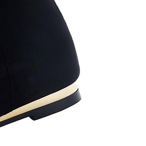 AllhqFashion Mujeres Sin cordones Mini Tacón Tachonado Caña Baja Botas con Cadenas Negro
