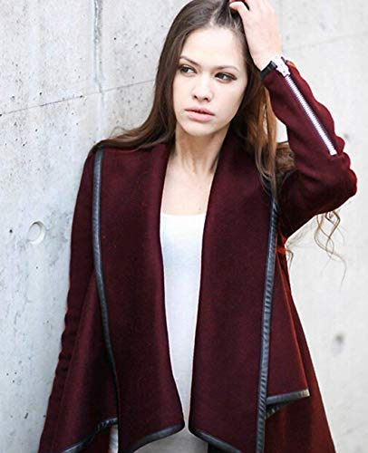 Fashion Fashion Fashion Autunno Donna Asimmetrico Irregolare Poncho Rosso Rosso Rosso Man Cardigan Weimilon Lunga EFqSwff