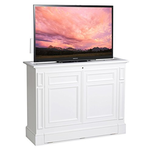 TVLiftCabinet Chatham White 360 Swivel TV Lift Cabinet