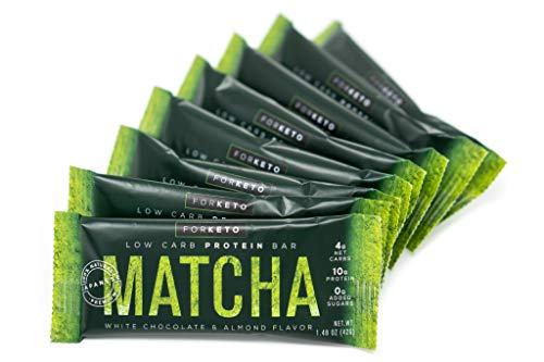 New! Forketo 100% Premium Matcha White Chocolate & Almond High Protein Keto Bar, Gluten Free, Low Carb Healthy Snack with 10g of Protein, 0 Added Sugar, 4g Net Carb (Pack of 8)