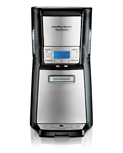 Coffee Demand 12 Cup Programmable Coffee Maker - Hamilton Beach (48465) Coffee Maker with 12 Cup Capacity & Internal Storage Coffee Pot, Brewstation, Black & Stainless