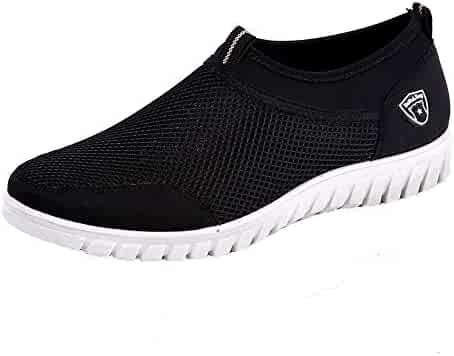 83783f3b16d PENGYGY Men s Casual Sneakers Lightweight Athletic Elderly Slip On Walking  Shoes