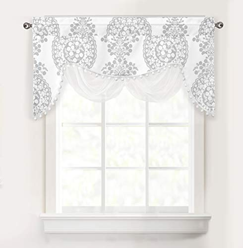 DriftAway Samantha Floral Damask Medallion Pattern Valance Single Rod Pocket 52 Inch by 28 Inch Plus 2 Inch Header Gray (White Flower Valance)
