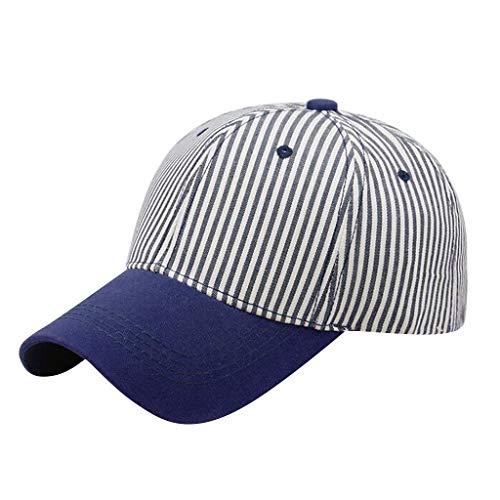 Unisex's Cotton Striped Colorblock Baseball Cap Sunscreen Visor Sun Hat Adjustable Athletics Hat (Blue)
