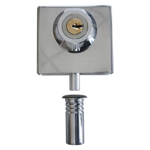 """Polished Stainless Slip-on Lock for 3/8"""" Glass"""