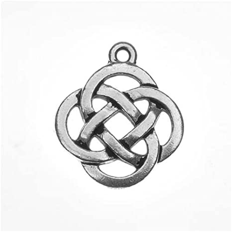 2 large Celtic knot cross charms Tibetan silver alloy jewellery findings