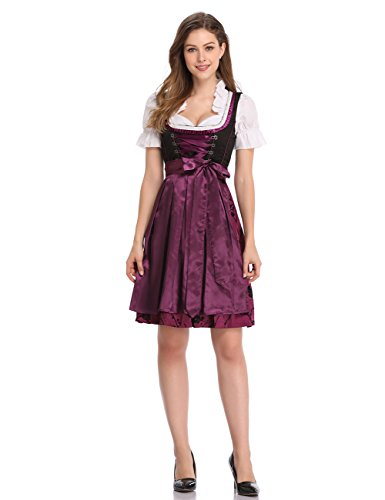 - Clearlove Limited Traditional Dirndl Women Dresses Blouse Apron (Purple, XXL)