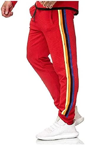 Nicellyer Mens Plus Size Pants Training Running Trousers with Side Taping