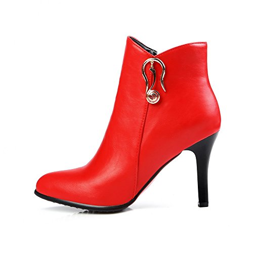 Allhqfashion Blend Toe Low Women's Materials High Zipper Red Top metal Piece Solid Boots Heels Closed r1FrznWq