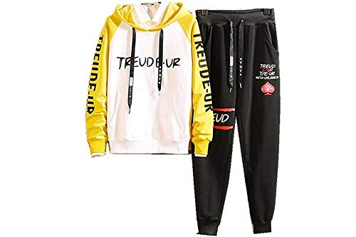 Men's Athletic Tracksuit Set Full Zip Print Hooded Sweatshirt Tops Pants Sportwear Sweat Suit(Yellow-X-Small)