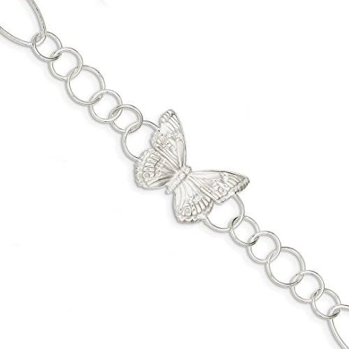 925 Sterling Silver Butterfly Bracelet 7.5 Inch Animal