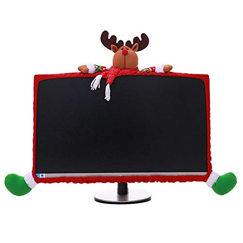 LONG7INES Christmas Computer Monitor Cover, Elastic Xmas Decorations Reindeer Computer Monitor Border Cover, Elastic Laptop Computer Cover for Xmas Home Office Decor and New Year Gift Ideas