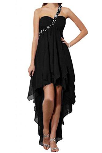 Toscana novia preferido Rueckenfrei Hi-Lo por la noche vestidos de Gasa de dama de honor vestidos de bola de fiesta largo negro