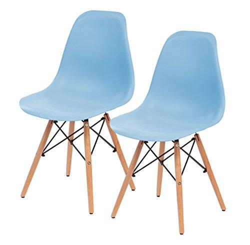 IRIS Mid-Century Modern Shell Chair with Wood Eiffel Legs, 2 Pack, Sky - Blue Chair Wooden Sky
