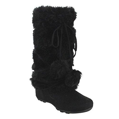 BLOSSOM TARA-HI women's mid calf flat boots suede upper fur calf, Color:BLACK, (Cambridge Blossom)