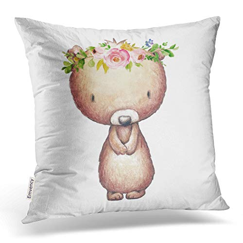 Emvency Decorative Throw Pillow Cover Square Size 18x18 Inches Baby Nursery Boho Woodland Bear Floral Girl Pillowcase With Hidden Zipper Decor Cushion Gift For Home Sofa Bedroom Couch Car