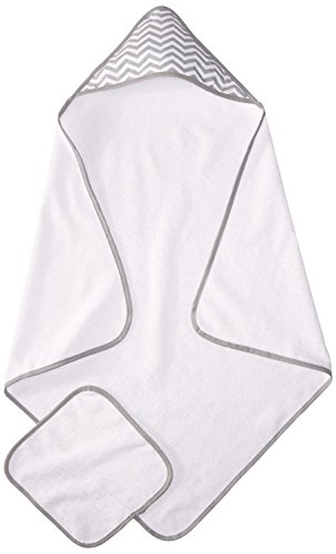 American Baby Company Terry Hooded Towel Set made with Organic Cotton, White with Gray ZigZag (Cotton Terry Towels)