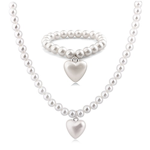 [Areke Women Faux Round Pearl Choker Necklace Bracelet Set Heart Pendant White Wedding Party Style] (Guy Dance Costumes)