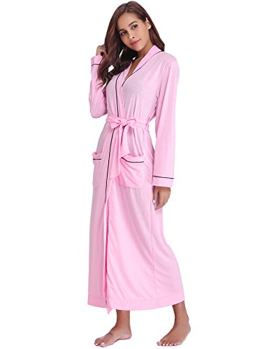Aibrou Women's Cotton Knit Long Kimono Robe Spa Bathrobe Soft Sleepwear Pink